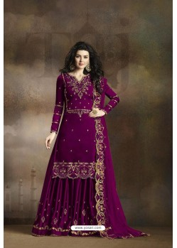Purple Heavy Rangoli Silk Party Wear Palazzo Suit