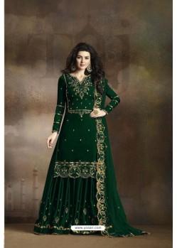 Dark Green Heavy Rangoli Silk Party Wear Palazzo Suit