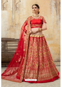 Eye Catching Red Malai Satin Designer Lehenga Choli