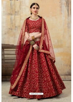 Adorable Maroon Art Silk Designer Lehenga Choli