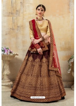 Maroon And Beige Pantom Silk Designer Lehenga Choli