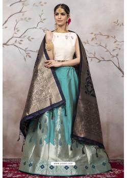 Teal And White Jacquard Party Wear Designer Lehenga Choli