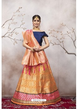 Orange And Navy Jacquard Party Wear Designer Lehenga Choli