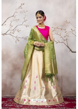 Cream And Pink Jacquard Party Wear Designer Lehenga Choli
