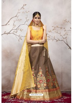 Coffee And Yellow Jacquard Party Wear Designer Lehenga Choli