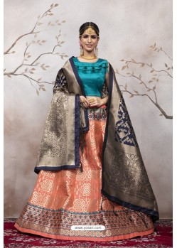 Peach And Teal Jacquard Party Wear Designer Lehenga Choli