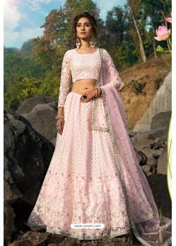 Pink Latest Soft Net Designer Lehenga Choli