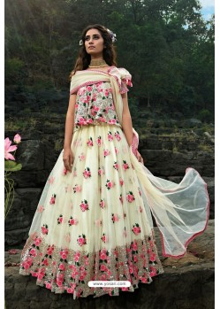 Off White Latest Soft Net Designer Lehenga Choli