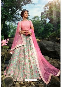 Sea Green And Pink Soft Net Designer Lehenga Choli