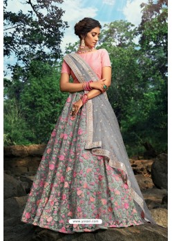Grey And Pink Soft Net Designer Lehenga Choli
