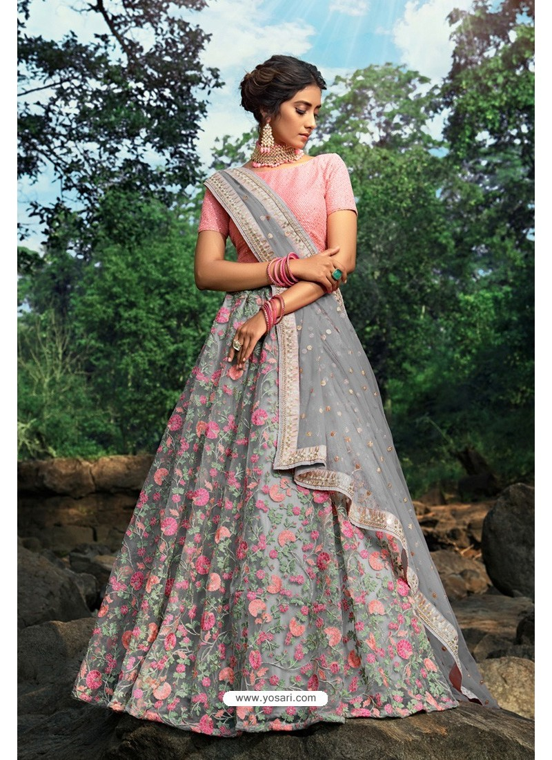 Grey And Pink Soft Net Designer Lehenga Choli