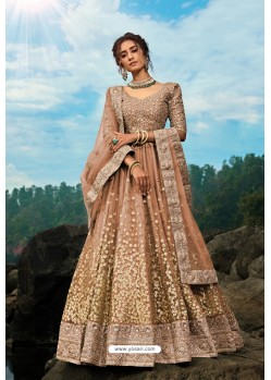 Brown Latest Soft Net Designer Lehenga Choli