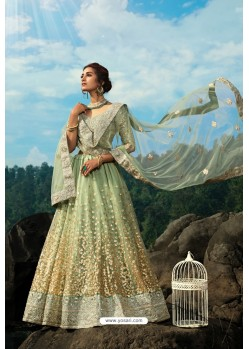 Green Latest Soft Net Designer Lehenga Choli