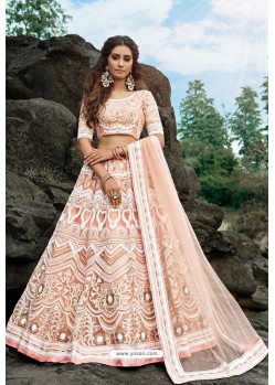 Peach Latest Soft Net Designer Lehenga Choli