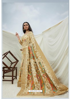 Cream Handloom Weaving Silk Designer Saree