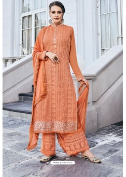 Orange Real Georgette Latest Palazzo Suit