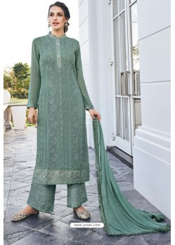 Grayish Green Real Georgette Latest Palazzo Suit