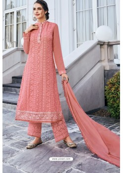 Peach Real Georgette Latest Palazzo Suit