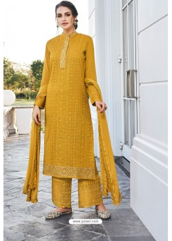 Mustard Real Georgette Latest Palazzo Suit