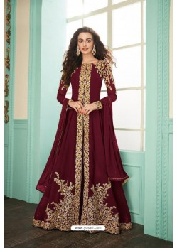 Maroon Heavy Embroidered Real Georgette Designer Suit