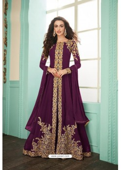 Purple Heavy Embroidered Real Georgette Designer Suit