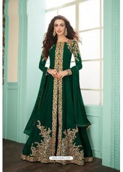 Dark Green Heavy Embroidered Real Georgette Designer Suit