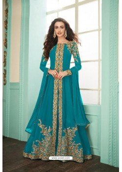 Sky Blue Heavy Embroidered Real Georgette Designer Suit