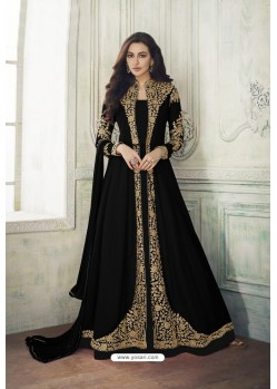 Black Heavy Embroidered Real Georgette Designer Suit