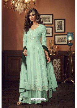 Sea Green Faux Georgette Party Wear Palazzo Suit