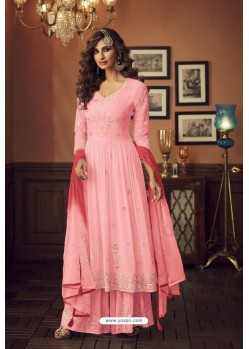 Baby Pink Faux Georgette Party Wear Palazzo Suit
