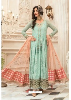 Sea Green Faux Georgette Pakistani Style Floor Length Suit