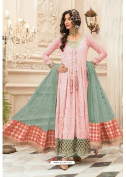 Pink Faux Georgette Pakistani Style Floor Length Suit