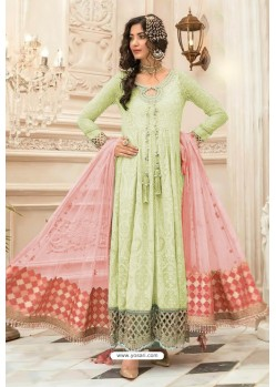 Green Faux Georgette Pakistani Style Floor Length Suit
