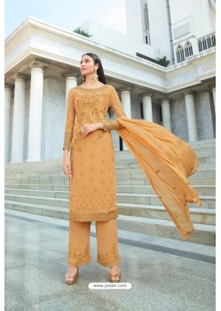 Orange Pure Georgette Stylish Straight Suit