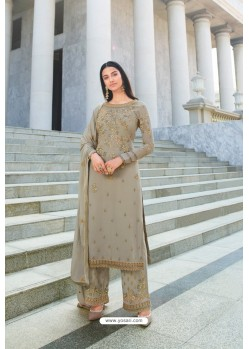 Light Brown Pure Georgette Stylish Straight Suit