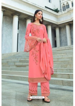 Peach Pure Georgette Stylish Straight Suit