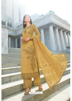 Mustard Pure Georgette Stylish Straight Suit