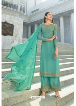 Aqua Mint Pure Georgette Stylish Straight Suit