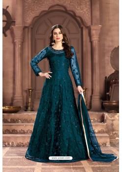 Peacock Blue Party Wear Net Floor Length Suit