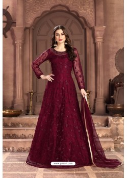 Maroon Party Wear Net Floor Length Suit