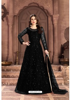 Black Party Wear Net Floor Length Suit