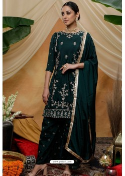 Dark Green Chinon Party Wear Palazzo Suit