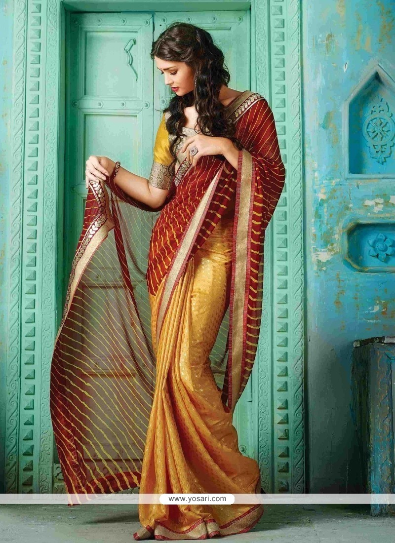 Miraculous Print Work Gold And Red Designer Traditional Sarees