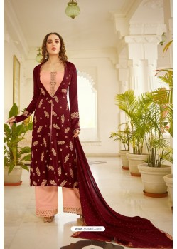 Maroon And Peach Orra Silk Designer Palazzo Suit
