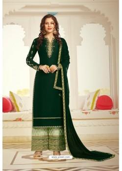 Dark Green Satin Designer Palazzo Suit