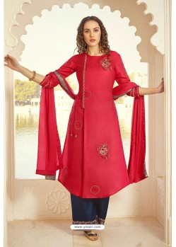 Red And Blue Tussar Silk Designer Palazzo Suit