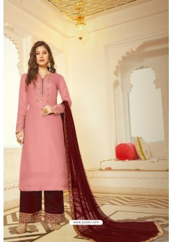 Pink And Maroon Tussar Silk Designer Palazzo Suit