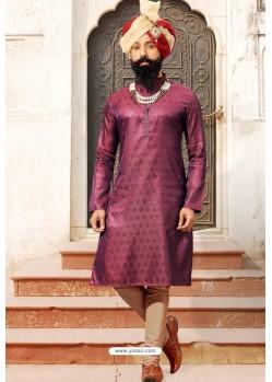 Purple Mix Jacquard Silk Designer Kurta Pajama
