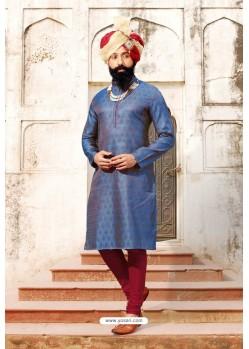 Blue Jacquard Silk Designer Kurta Pajama