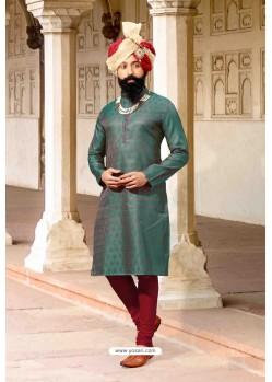 Dark Green Jacquard Silk Designer Kurta Pajama